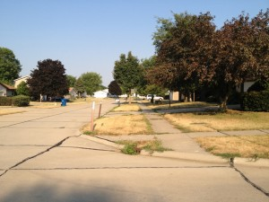 Water parched neighborhood